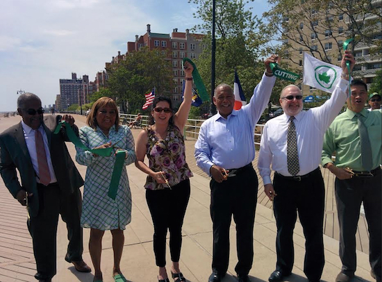 Brooklyn Parks Commissioner Kevin Jeffrey, Assemblymember Pamela Harris, state Sen. Diane Savino, City Parks Commissioner Mitchel Silver, Assemblyman Steven Cymbrowitz and Community Board 13 District Manager Eddie Mark (left to right) cut the ribbon to mark the opening of beach season. Photos courtesy of Cymbrowitz's office
