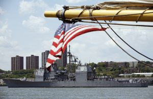 The USS Monterey, a U.S. Navy guided missile cruiser based in Norfolk, Va., sails down New York's Hudson River, part of Fleet Week NY 2008. AP photo by Richard Drew
