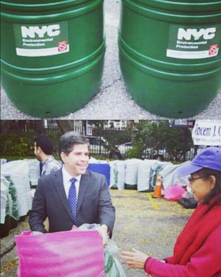 Councilmember Vincent Gentile plans to celebrate the opening of the Bay Ridge Greenmarket by distributing rain barrels. Photos courtesy of Gentile's office