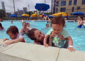 Mom Lindy Arpante with Sadie, right, and Liev, left, at Brooklyn Bridge Park's Pop-Up Pool. Photos by Mary Frost