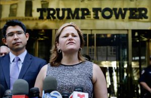 New York City Council Speaker Melissa Mark-Viverito, with City Councilmember Carlos Menchaca, left, speaks at a news conference outside Trump Tower in New York. Donald Trump's lightning-rod proposals to deport illegal immigrants and temporarily ban Muslims from entering the U.S. could cost New York state more than $800 million and New York City more 340,000 jobs, according to an analysis by Mark-Viverito.  AP Photo/Mark Lennihan, file