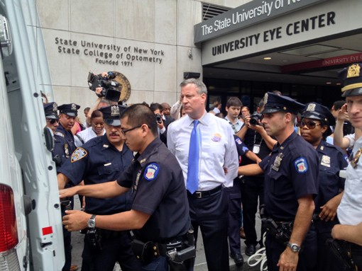 Mayor Bill de Blasio, as Public Advocate, fought to save Long Island College Hospital (LICH), even arranging to get arrested for the cause. Now that de Blasio's role in the sale of LICH is under investigation, the Brooklyn Eagle has compiled an index of hundreds of articles published on the topic since it began to play out.  Photo courtesy of the de Blasio campaign