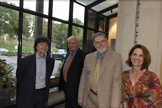 From left: Documentary filmmaker Ken Burns, Green-Wood President Richard Moylan, author and honoree Geoffrey Ward and documentary producer Lynn Novick. Eagle photos by Andy Katz