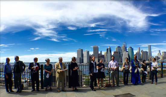 Religious leaders of diverse faith traditions assemble on the Brooklyn Heights Promenade for a 9/11 memorial service. Eagle photos by Lore Croghan
