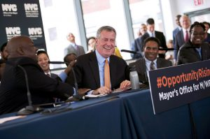 Mayor Bill de Blasio on Wednesday set an ambitious goal of 30 percent of city contract awards to minority- and women-owned business enterprises (M/WBEs) by 2021. Photo by Ed Reed Mayoral Photography Office