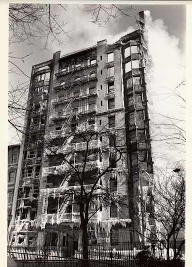 This dramatic picture taken by Brooklyn Heights Press photographer Amy Davis in February 1980 shows the Hotel Margaret after a devastating five-alarm fire. Eagle file photos by Amy Davis