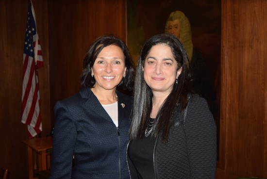 The Brooklyn Women's Bar Association hosted a Continuing Legal Education (CLE) session with elder law attorney Fern Finkel (left) where she advised attorneys on how their clients can age with dignity. Finkel is pictured with Sara J. Gozo, president of the BWBA. Eagle photo by Rob Abruzzese