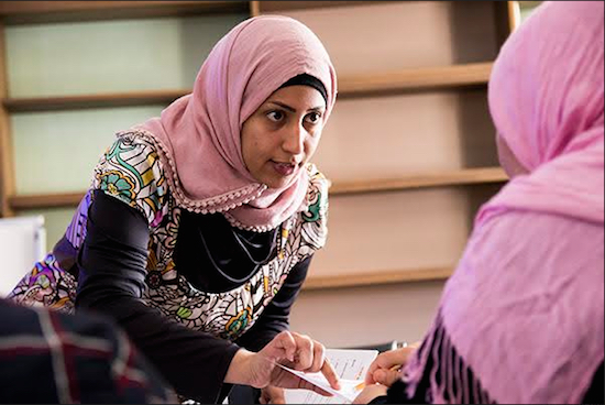 Sammraa Mashrah started out as a student in the English class but made rapid progress and became an instructor. Photo courtesy of HeartShare Human Services