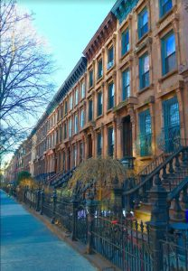 Late 19th-century Brooklyn architect and builder Susanna Russell designed, constructed and owned this row of brownstones from 70 Hancock St. (at right) to 84 Hancock St. Eagle photos by Lore Croghan