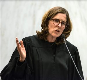 Justice Ann Donnelly speaks at her installation ceremony at the U.S. District Court for the Eastern District of New York in 2016. Eagle file photo by Rob Abruzzese