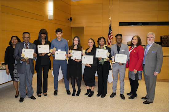 A ceremony was held for the graduating interns from the Kings County Courts Student Employment and Internship Program. Pictured from left: Charmaine Johnson, Anthony Henry, Yavanna James, Kayes Mahmud Shakil, Ghada Chayah, Salma Santana, Katherine Moore, Benvindo Do Rosario Savo Manuel, Donna Farrell and John T. Dougherty. Not pictured is Taliyah McClam. Eagle photos by Rob Abruzzese