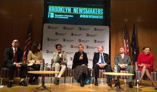 Forum moderators Chamber President Andrew Hoan and Downtown Brooklyn Partnership President Regina Myer question Brooklyn House delegation members Yvette Clarke, Carolyn Maloney, Dan Donovan, Hakeem Jeffries and Nydia Velázquez (left to right). Photo courtesy of the Brooklyn Chamber of Commerce