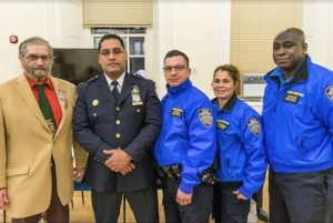 The 84th Precinct has a new commanding officer — Capt. Roberto Melendez. Pictured from left: Tony Ibelli, Capt. Roberto Melendez, John Kenny, Diana Torres and Julius Hudson. Eagle photo by Rob Abruzzese