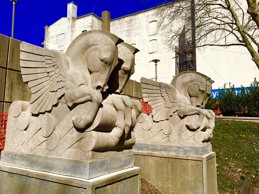 Pegasus statues at the Brooklyn Museum Sculpture Garden. Eagle file photo by Lore Croghan
