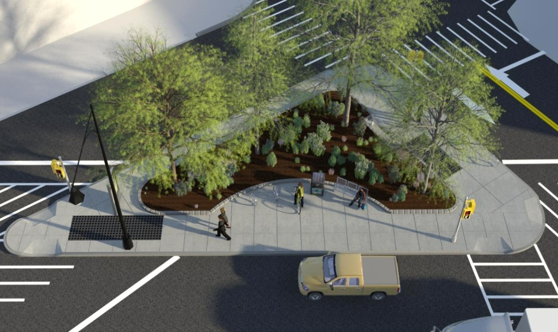 AFTER - This rendering shows the pedestrian-friendly triangle park planned for the intersection of Flatbush and Sixth avenues. Rendering courtesy of DOT