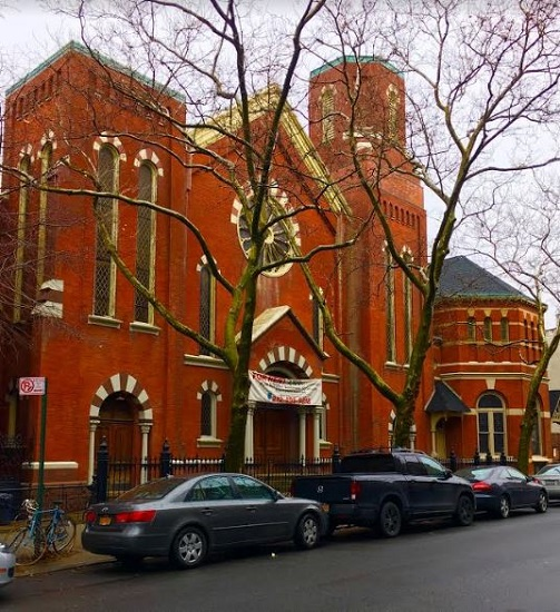 This is landmarked St. Elias, a now-closed Greenpoint church that's on the rental market. Eagle photos by Lore Croghan