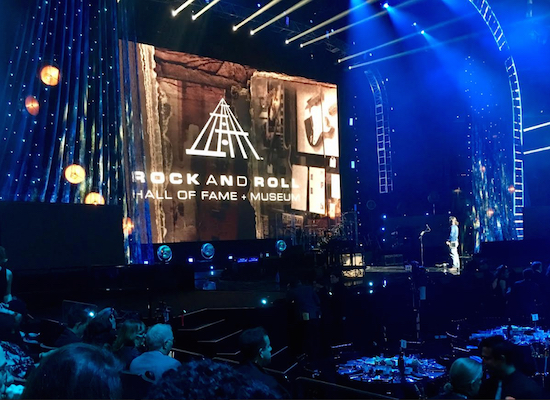 The crew sets the stage for Rock and Roll Hall of Fame Induction Ceremony. Eagle photos by John Alexander