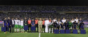The New York Cosmos traveled to Saudi Arabia on Saturday to play reigning champions of the Saudi Professional League Al-Hilal FC. The game ended in a scoreless draw. Shown: Cosmos Owner Rocco B. Commisso (center) poses with both teams. Photo courtesy of Al-Hilal FC