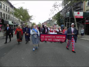 Leaders of the parade committee march in last year's parade up Third Avenue. Eagle file photo by Paula Katinas