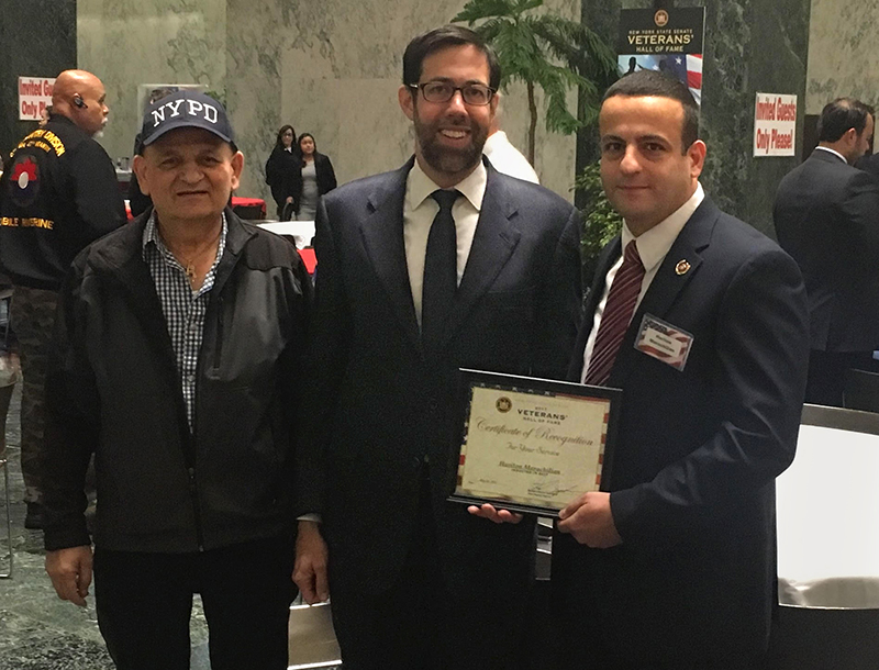 Senator Squadron with Hariton Marachilian and his father at the State Senate on Tuesday. Photo courtesy of the Office of Sen. Daniel Squadron