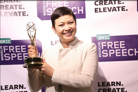"Welly Lai won an award for BRIC's Brooklyn Free Speech in the category of Lifestyle Program: Feature/Segment for her piece ""5 Boro Taste: World Cuisine in NYC."" Photo courtesy of BRIC"