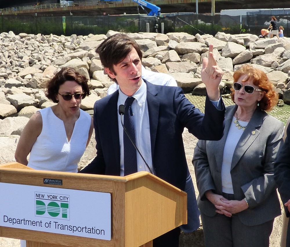 From left: DOT Commissioner Polly Trottenberg; Councilmember Stephen Levin; Assemblymember Jo Anne Simon. Photo by Mary Frost