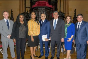 Brooklyn's seven candidates for district attorney (from left): Marc Fliedner, Patricia Gatling, Ama Dwimoh, John Gangemi, Acting DA Eric Gonzalez, Anne Swern and Councilmember Vincent Gentile. Eagle photos by Rob Abruzzese