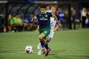 Emmanuel Ledesma (18) salvaged a point for the New York Cosmos on Tuesday when he tied the game in the 85th minute on a penalty kick against Indy Eleven. The brace was the midfielder's fourth goal of the season and his third in three games. Photos courtesy of the New York Cosmos