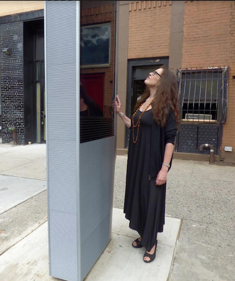 Cobble Hill resident Judith Barnes came back from a vacation last week only to find a LinkNYC kiosk installed directly in front of her apartment window. She wants the city to have it removed. Eagle photos by Mary Frost