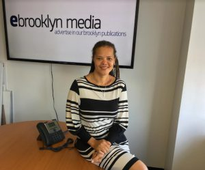 Civil Court judge candidate Patria Frias-Colon visits the office of the Brooklyn Eagle. Eagle photo by John Alexander