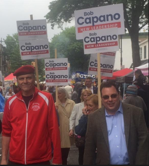 Guardian Angels founder Curtis Sliwa with City Council Candidate Bob Capano. Photo courtesy of Bob Capano
