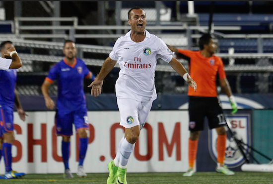 Recently promoted Cosmos B team forward Bledi Bardic made the most of his first start for the Cosmos by scoring a goal. New York came from behind twice to secure a point in a thrilling 3-3 draw against Miami FC on Wednesday night. Photos courtesy of Miami FC