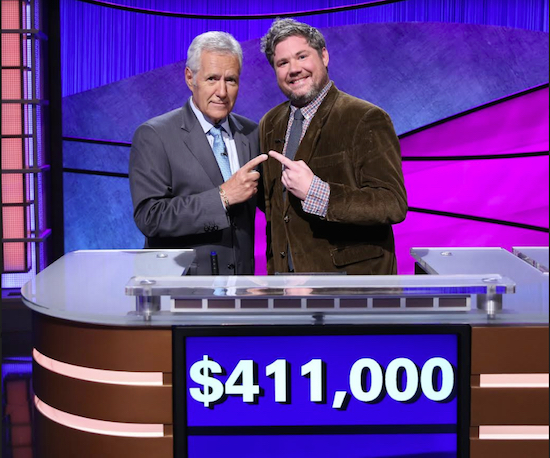 """Jeopardy!"" host Alex Trebek with 12-time champion Austin Rogers. Photos courtesy of Jeopardy Productions, Inc."