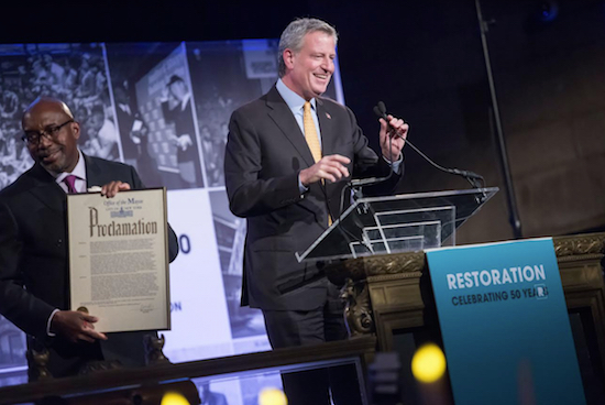 Mayor Bill de Blasio and Restoration Corporation President and CEO Colvin Grannum. Photo by Ed Reed