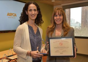 Elizabeth Brandler (left), legal advocacy senior counsel for the ASPCA, presents a certificate to Brooklyn Assistant District Attorney Karen Turner. Photo courtesy of ASPCA