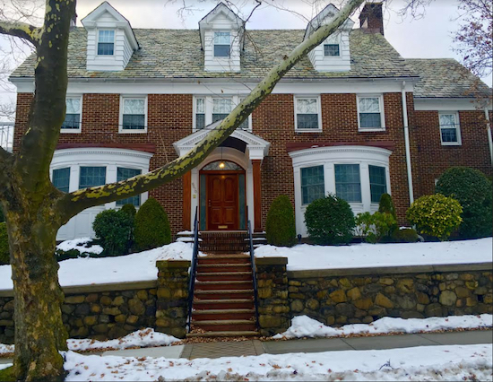 "Hark! The Bay Ridge house where Tom Selleck's character, Police Commissioner Frank Reagan, lives in ""Blue Bloods"" is surrounded by a blanket of snow. Eagle photos by Lore Croghan"