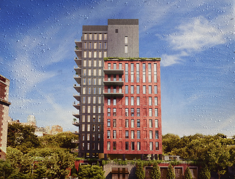 A rain-spattered rendering of 5 River Park, the 15 story tower being developed by Fortis Property Group on the former Long Island College Hospital (LICH) campus in Cobble Hill, has been posted at the construction site at 347 Henry St.  Eagle photo by Mary Frost