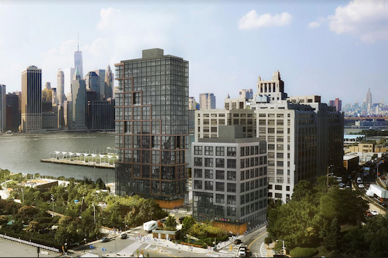 The case of the Brooklyn Heights Association versus two controversial towers in Brooklyn Bridge Park is in the hands of the judge now. Rendering courtesy ODA-RAL Development Services/Oliver's Realty Group