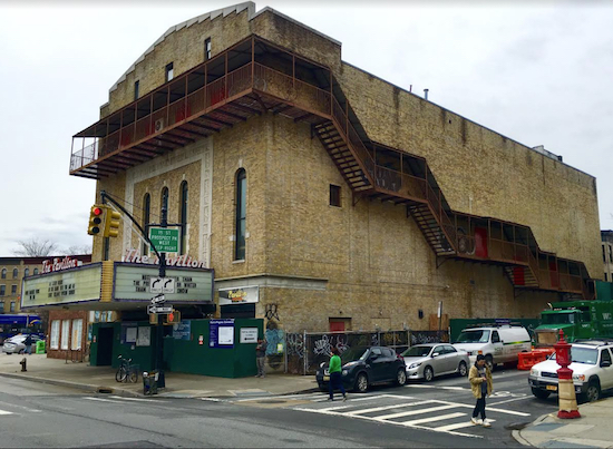 Here's a glimpse of Park Slope's former Pavilion Theater, which is being turned into the Nitehawk Prospect Park. Eagle photo by Lore Croghan
