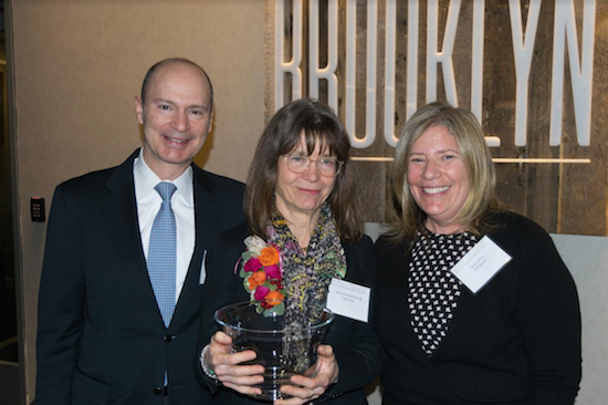 The Brooklyn Bar Association's Volunteer Lawyers Project (VLP) recently honored three people including Hon. Elizabeth Stong during its annual Volunteer Recognition Event last Wednesday. Pictured are Hon. Elizabeth S. Stong (center) with Terri Letica (right) and Nick Letica (left), the people who helped to create the VLP in 1990. Eagle photos by Rob Abruzzese