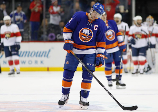 Team captain John Tavares bows his head in misery as the Islanders were mathematically eliminated from playoff contention following Monday's night's 3-0 loss to Florida at the Barclays Center. AP Photo by Kathy Willens