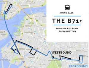 A proposed route for the B71 bus from last November. Courtesy of the Park Slope Civic Council