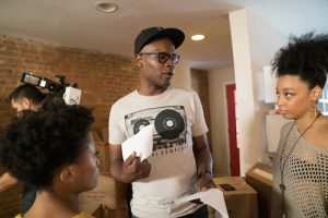"Darien Sills-Evans behind the scenes directing ""One Bedroom."" Photo by Richard Louissant"