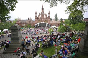 View of concert from Battle Hill looking down at Green-Wood's famous Main Gate. Eagle photos by Andy Katz
