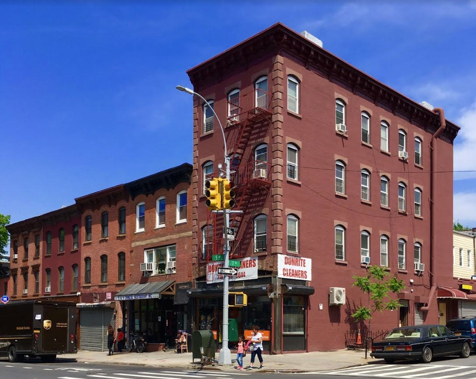 This old-fashioned Park Slope streetscape includes handsome 401 Fifth Ave. on the corner of 7th Street.