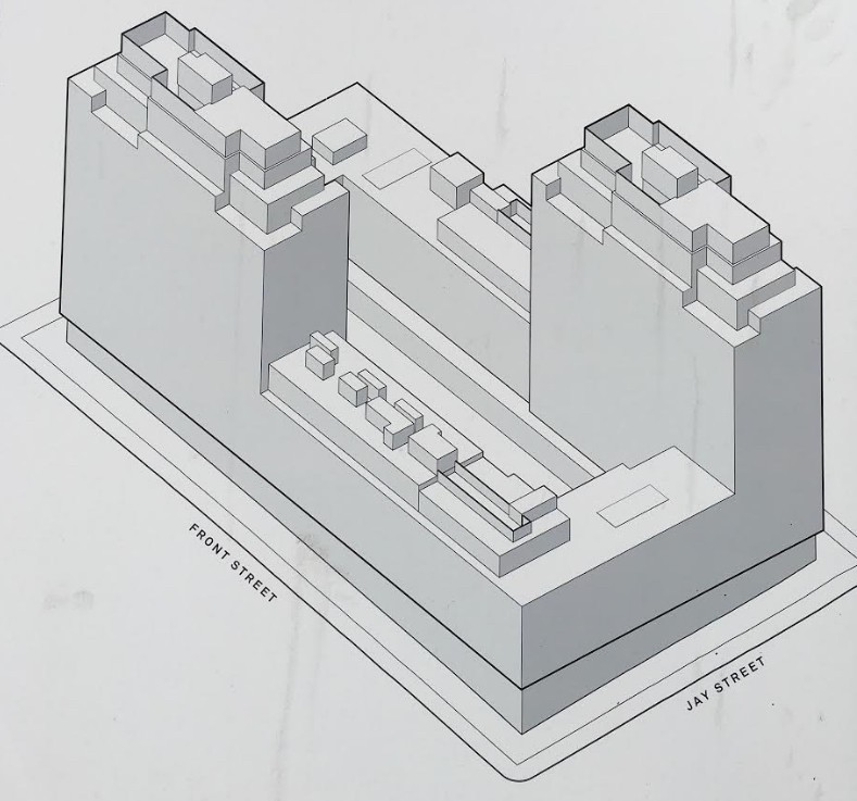 This schematic drawing can be found on the construction fence at 85 Jay St.
