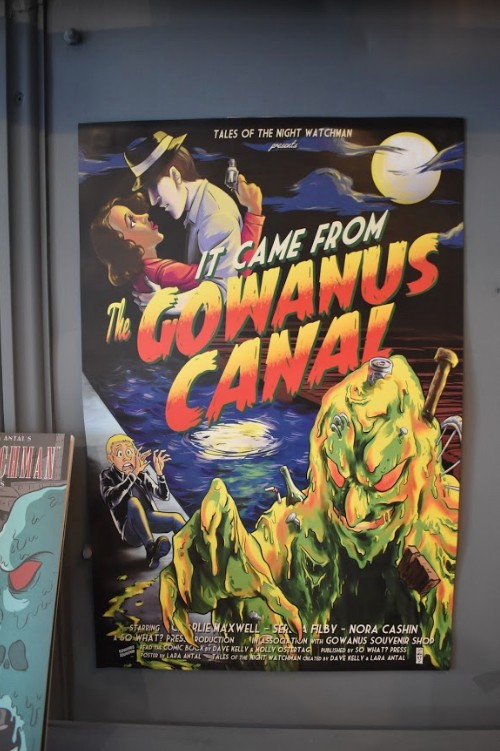 Posters and a comic-book series use the canal as a setting for stories about creepy creatures.