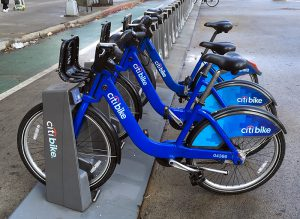 Another 1.6 million people are now eligible for low-cost Citi Bike memberships, now that New York City has expanded the program to SNAP (food stamp) recipients. Shown: Citi Bikes in Brooklyn Heights.  Eagle photo by Mary Frost