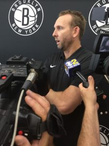 After a busy summer of wheeling and dealing, Nets general manager Sean Marks addressed the local media Tuesday afternoon at the team's HSS Training Center in Sunset Park. Eagle Photo by John Torenli