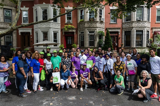 All the winners of the Greenest Block in Brooklyn contest pose together for a group photo on the winning block. Eagle photos by Paul Frangipane